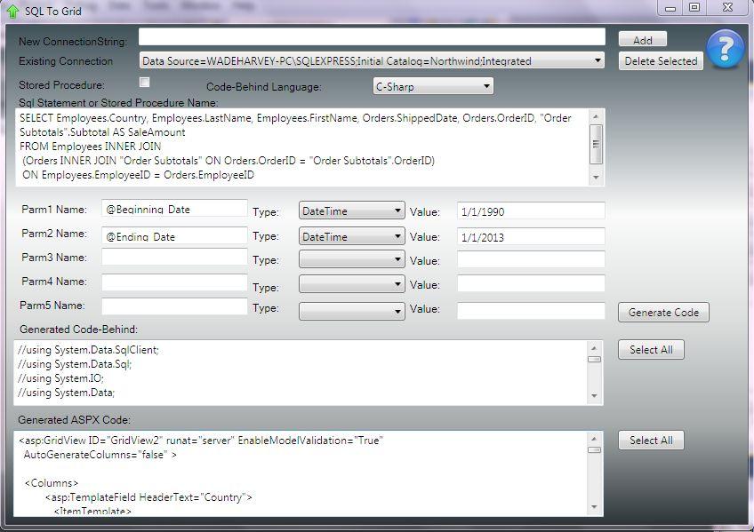 sqldatareader code generator,.net code generators,c-sharp, vb.net, asp.net