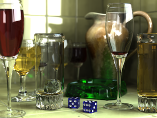 This image was created by Gilles Tran with POV-Ray 3.6 using Radiosity. The glasses, ashtray and pitcher were modeled with Rhino and the dice with Cinema 4D.