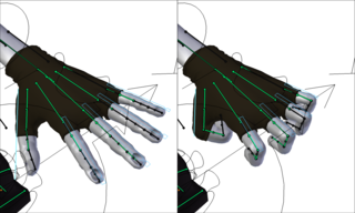 Bones (in green) used to pose a hand. In practice, the bones themselves are often hidden and replaced by more user-friendly objects. In this example from the open source project Blender, these handles (in blue) have been scaled down to bend the fingers. The bones are still controlling the deformation, but the animator only sees the handles.