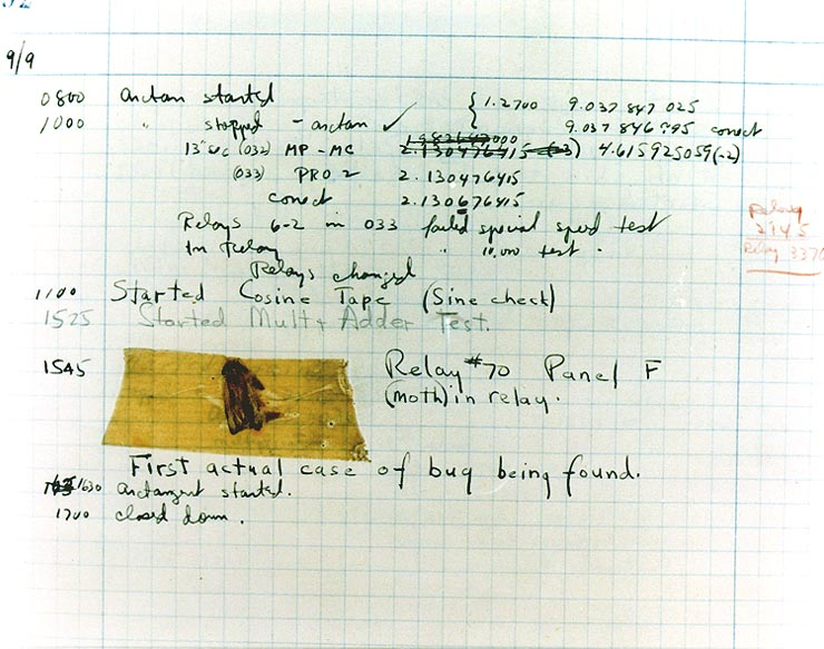 A computer log entry from the Mark II, with a moth taped to the page