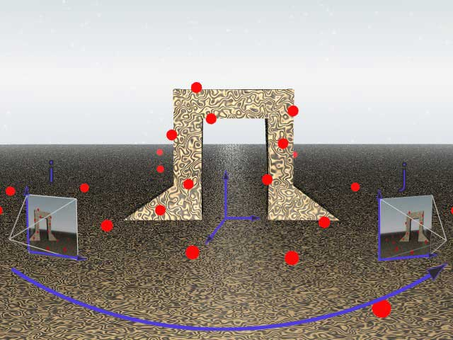 An illustration of feature projection. Around the rendering of a 3D structure, red dots represent points that are chosen by the tracking process. Cameras at frame i and j project the view onto a plane depending on the parameters of the camera. In this way features tracked in 2D correspond to real points