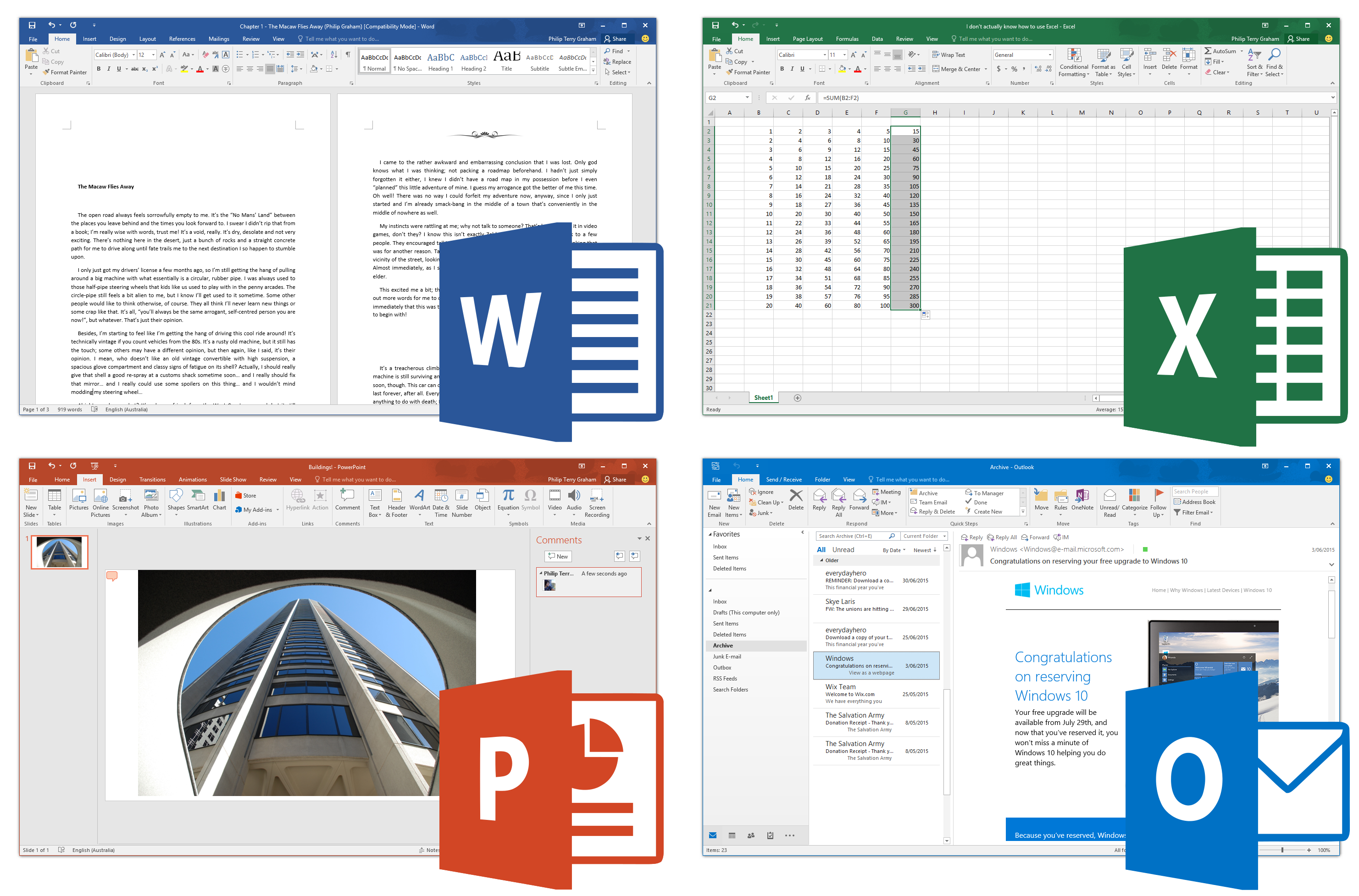 Four screenshots of Microsoft Office 2016 applications running on Windows 10, clockwise from top left: Word, Excel, Outlook and PowerPoint. The apps are being used as per their intentional uses in each of the screenshots, rather than the default starting screens, to illustrate the uses of each of the applications. Each screenshot is accompanied by each of their respective icons, shown in Windows. Used with permission from Microsoft.