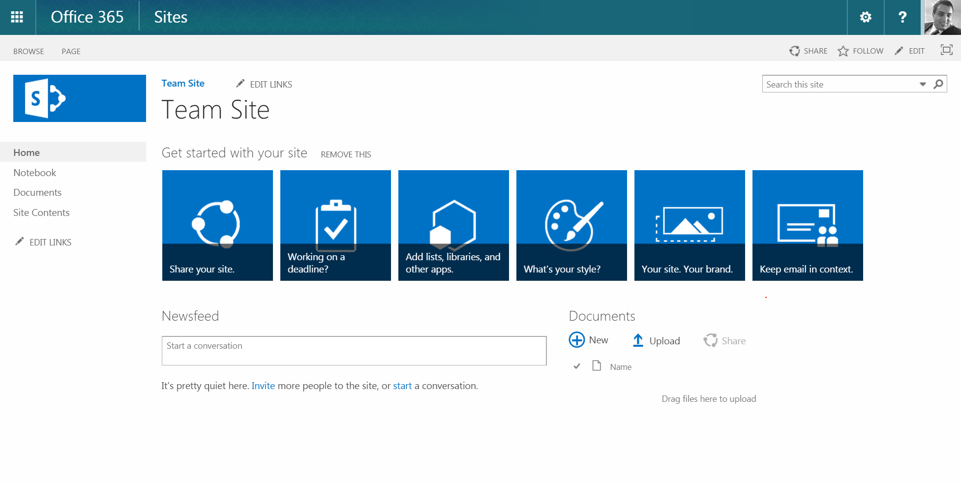 Screenshot of a new Team Site page, generated by Microsoft Sharepoint.