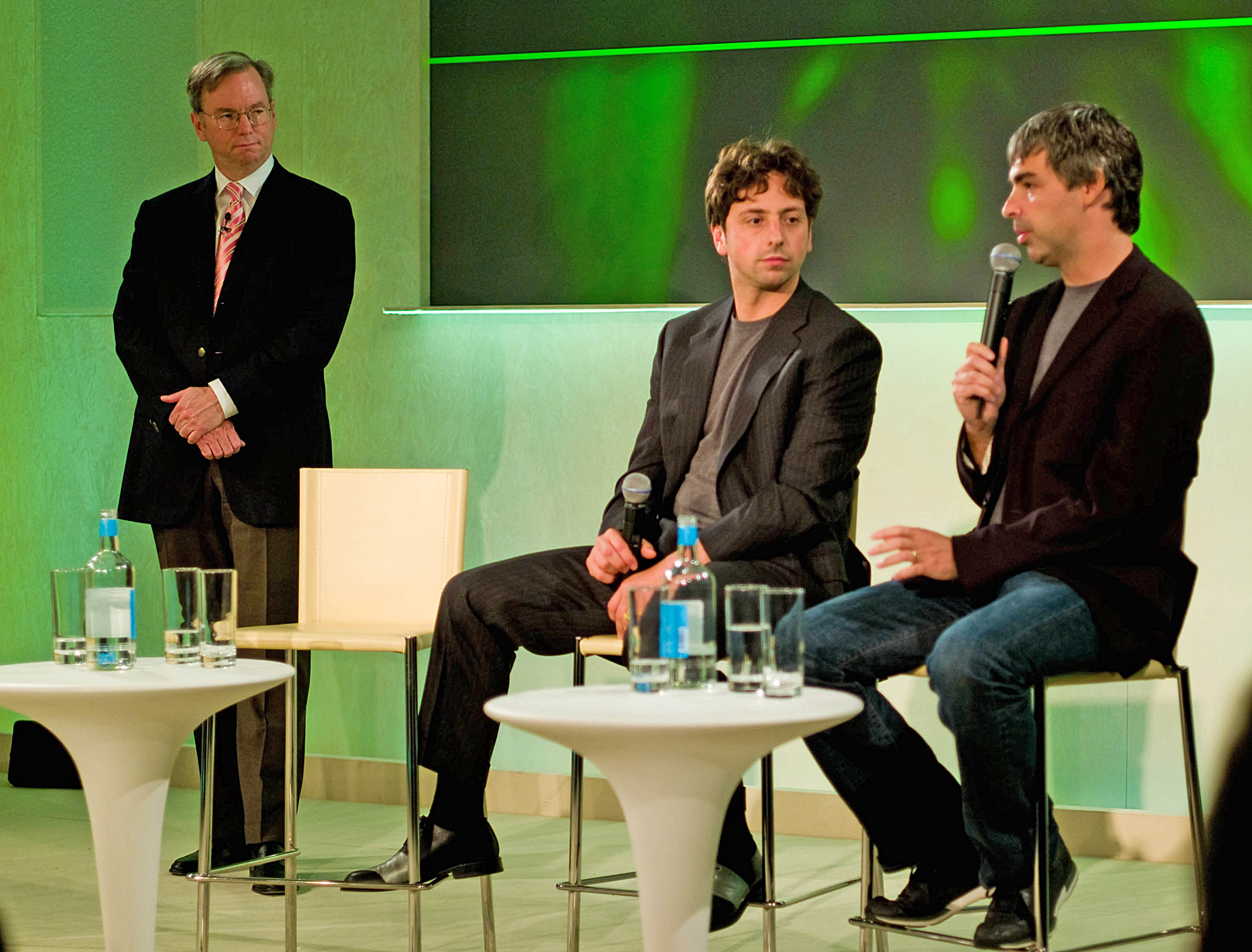 Then-CEO, now Chairman of Google Eric Schmidt with cofounders Sergey Brin and Larry Page (left to right) in 2008.