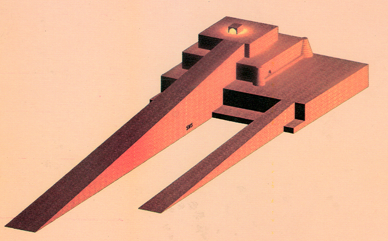 CAD rendering of Sialk ziggurat based on archeological evidence