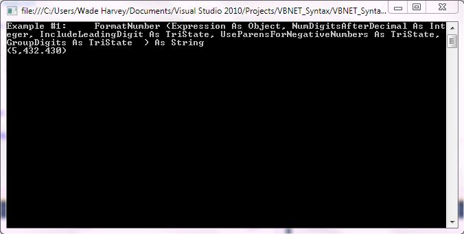 VB.NET Syntax StringManipulation FormatNumber screenshot