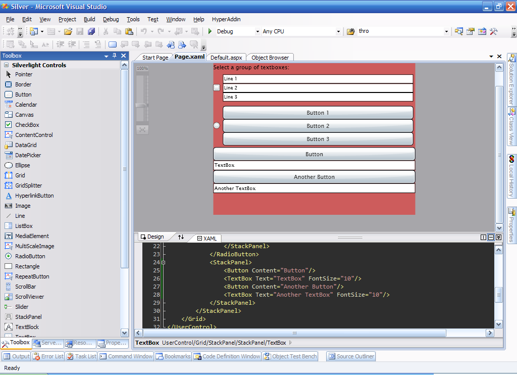 A Silverlight application being edited in Microsoft Visual Studio.