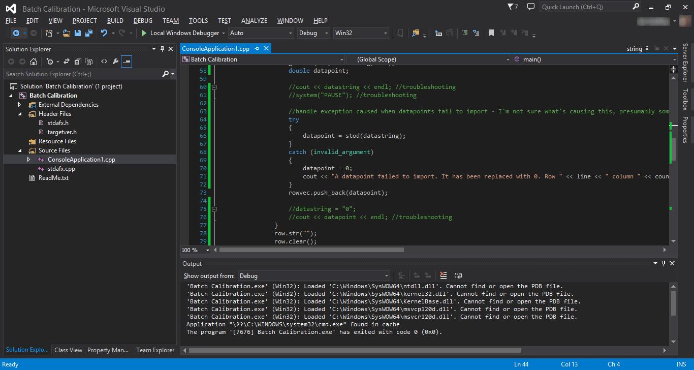 Screenshot of Visual Studio 2013 (dark theme) editing a C++ programme.