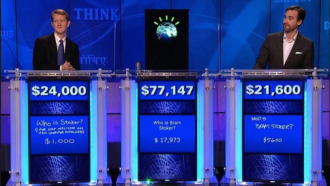 Ken Jennings, Watson, and Brad Rutter in their Jeopardy! exhibition match